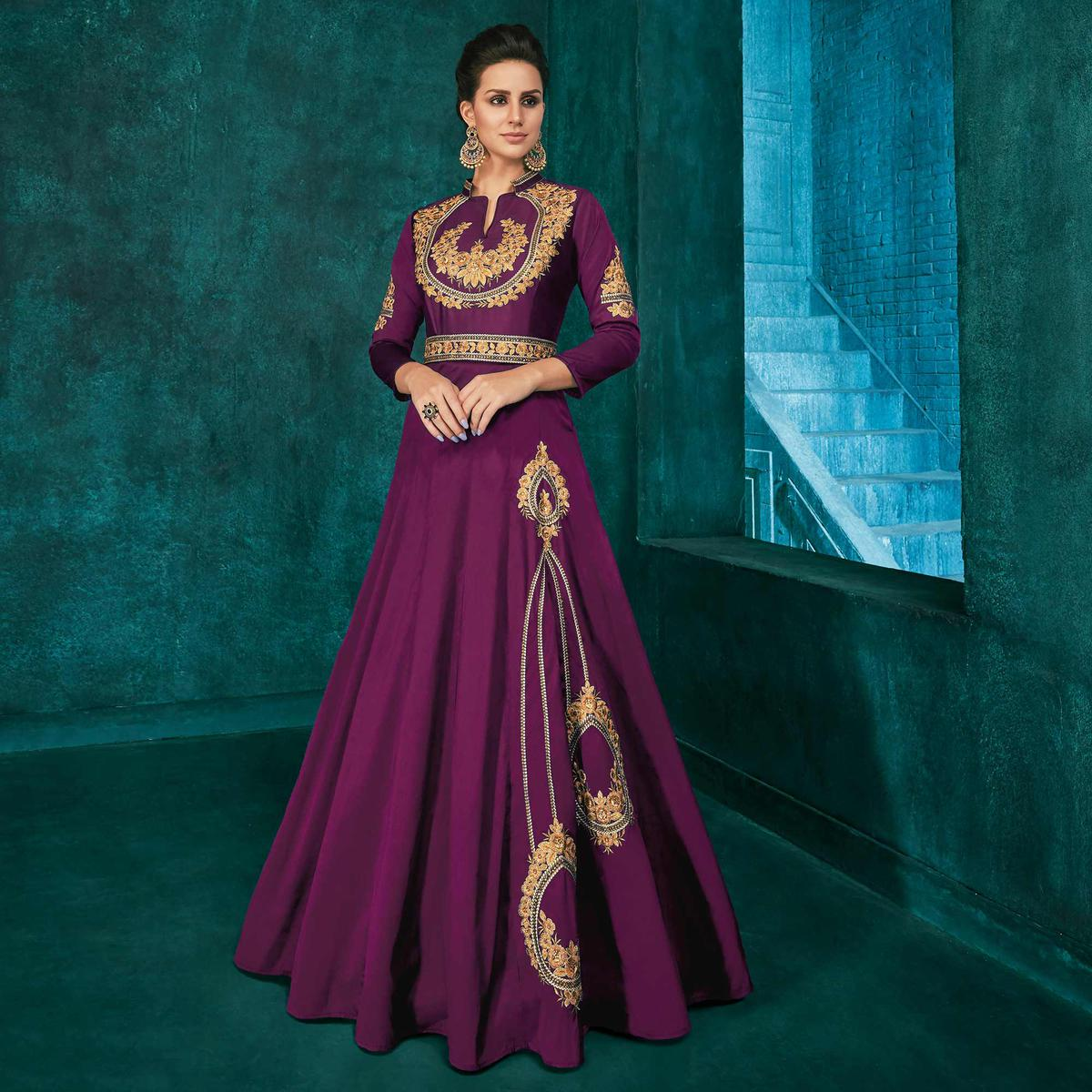 Alluring Dark Purple Colored Party Wear Embroidered Silk Gown