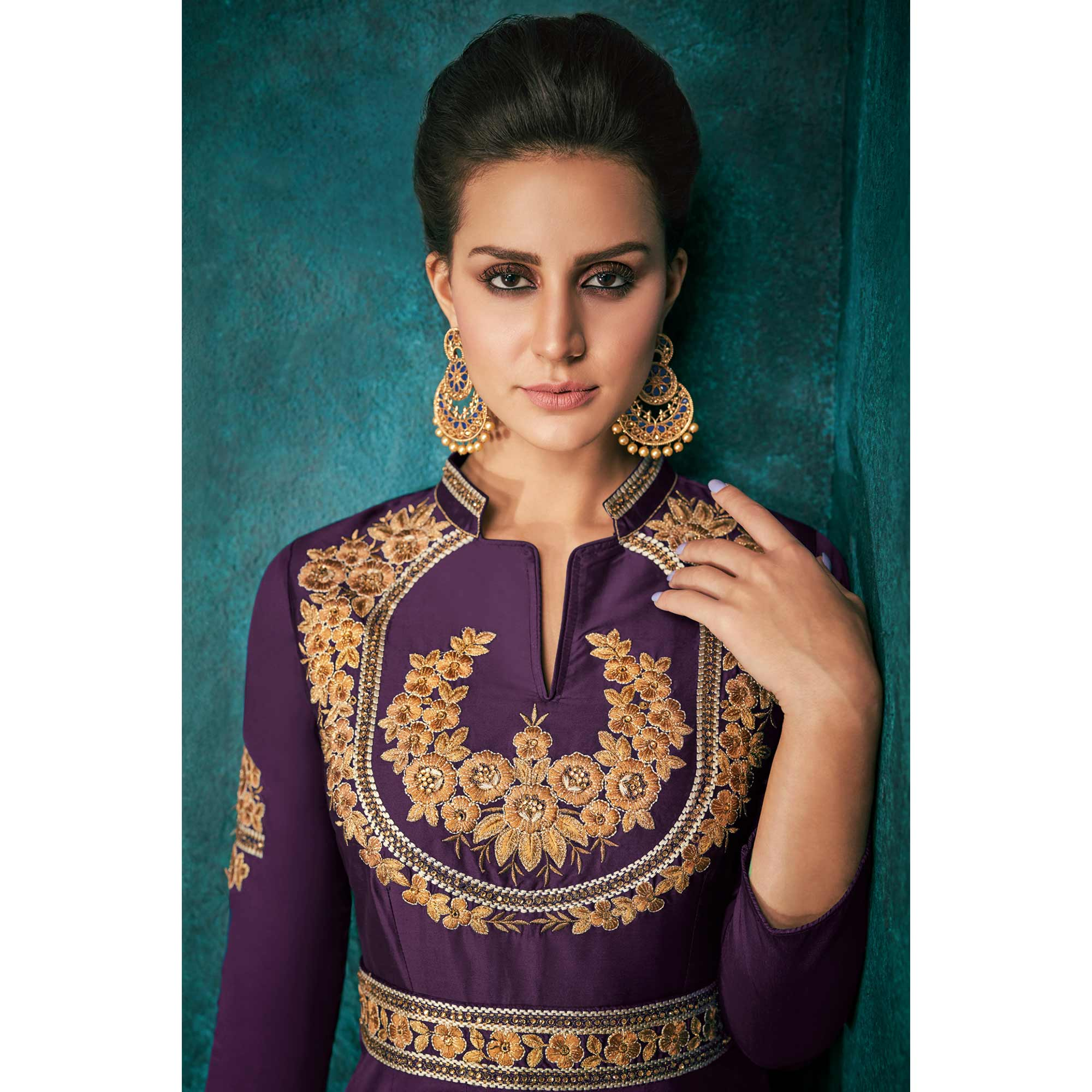 Sensational Purple Colored Party Wear Embroidered Silk Gown