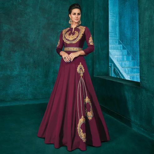 Stunning Wine Colored Party Wear Embroidered Silk Gown