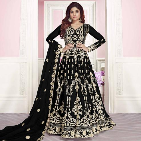 Prominent Black Colored Partywear Embroidered Silk Anarkali Suit