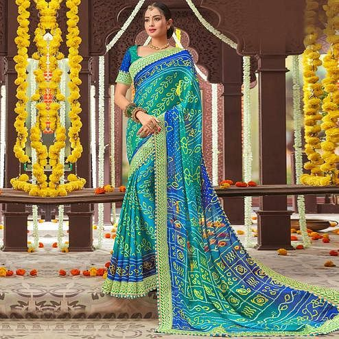 Eye-catching Blue Colored Partywear Bandhani Printed Chiffon Saree