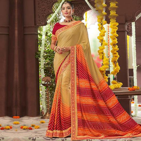Gorgeous Beige Colored Partywear Bandhani Printed Chiffon Saree