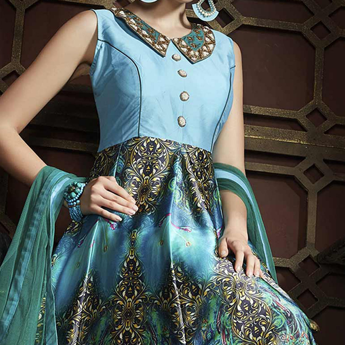 Teal Blue Multicolored Gown Anarkali