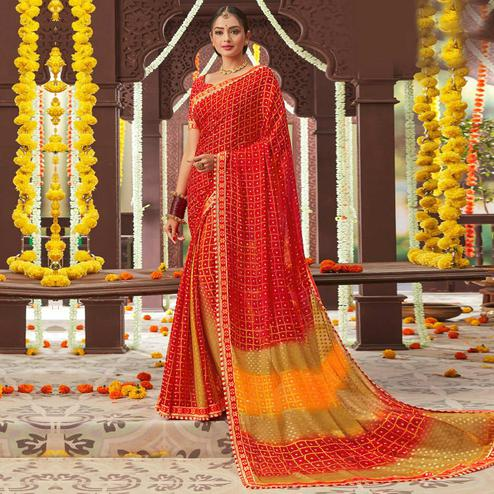 Imposing Red Colored Partywear Bandhani Printed Chiffon Saree