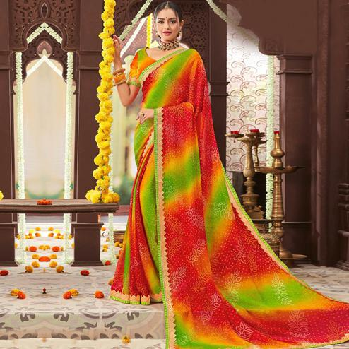 Pleasance Multi Colored Partywear Bandhani Printed Chiffon Saree