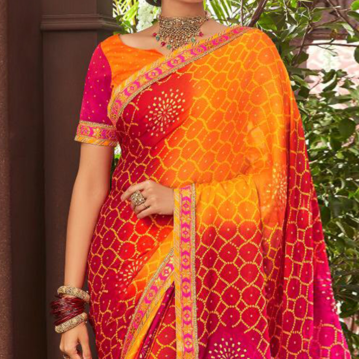 Ravishing Yellow-Multi Colored Partywear Bandhani Printed Chiffon Saree