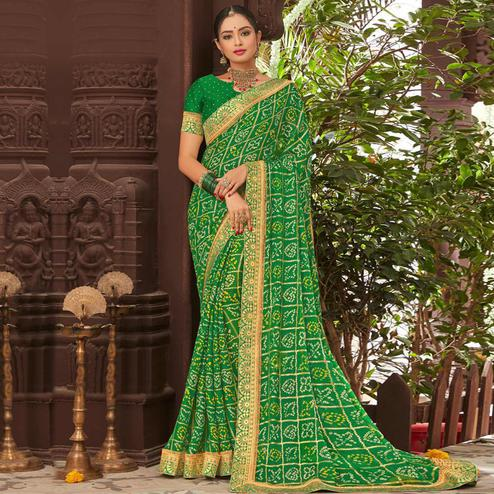 Surpassing Green Colored Partywear Bandhani Printed Chiffon Saree