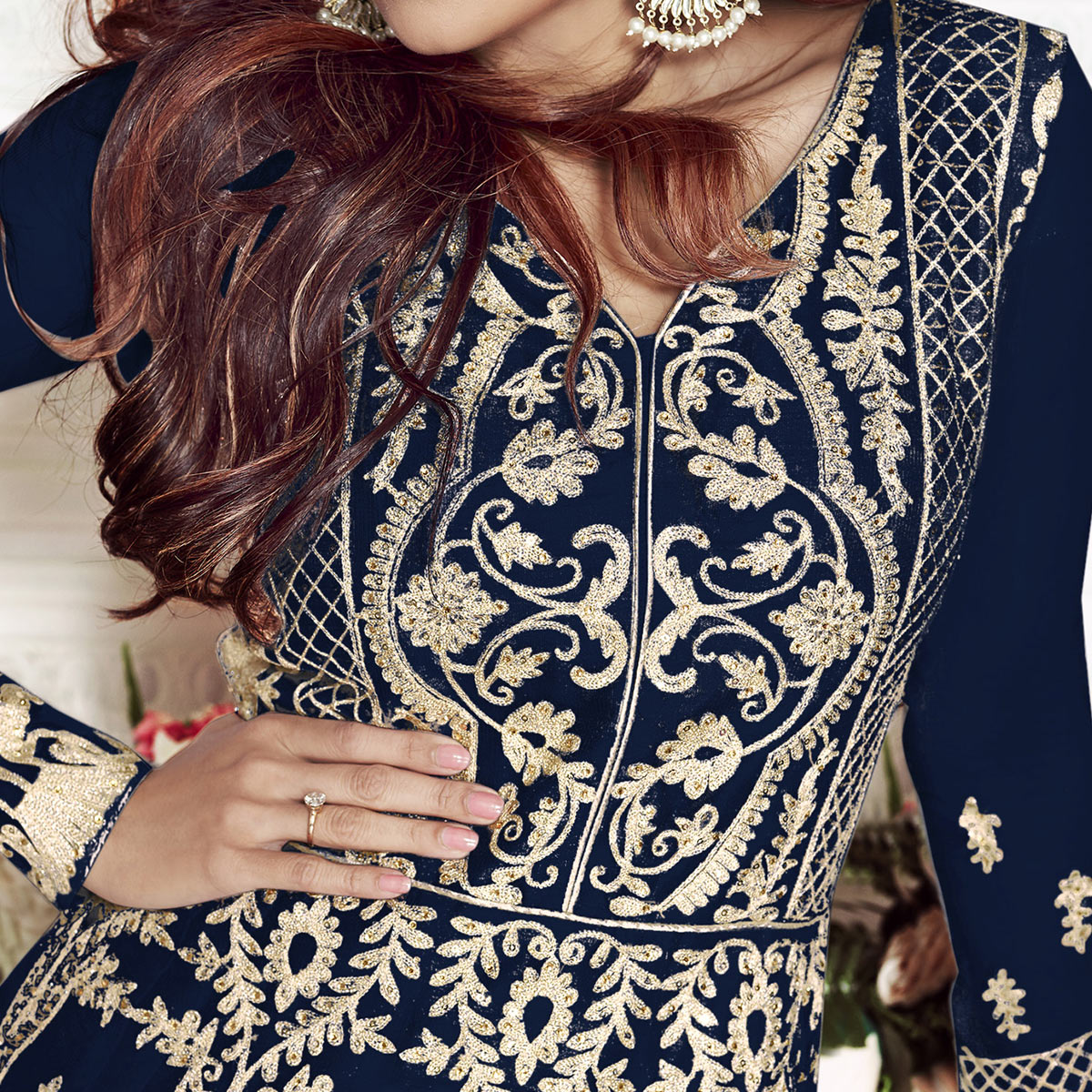 Appealing Navy Blue Colored Partywear Embroidered Silk Anarkali Suit