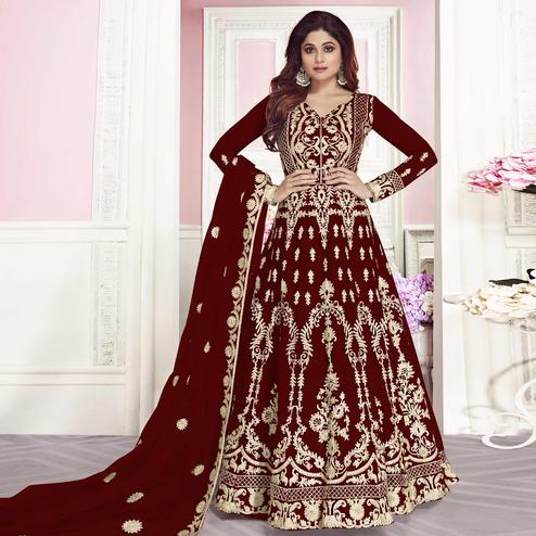 Capricious Maroon Colored Partywear Embroidered Silk Anarkali Suit