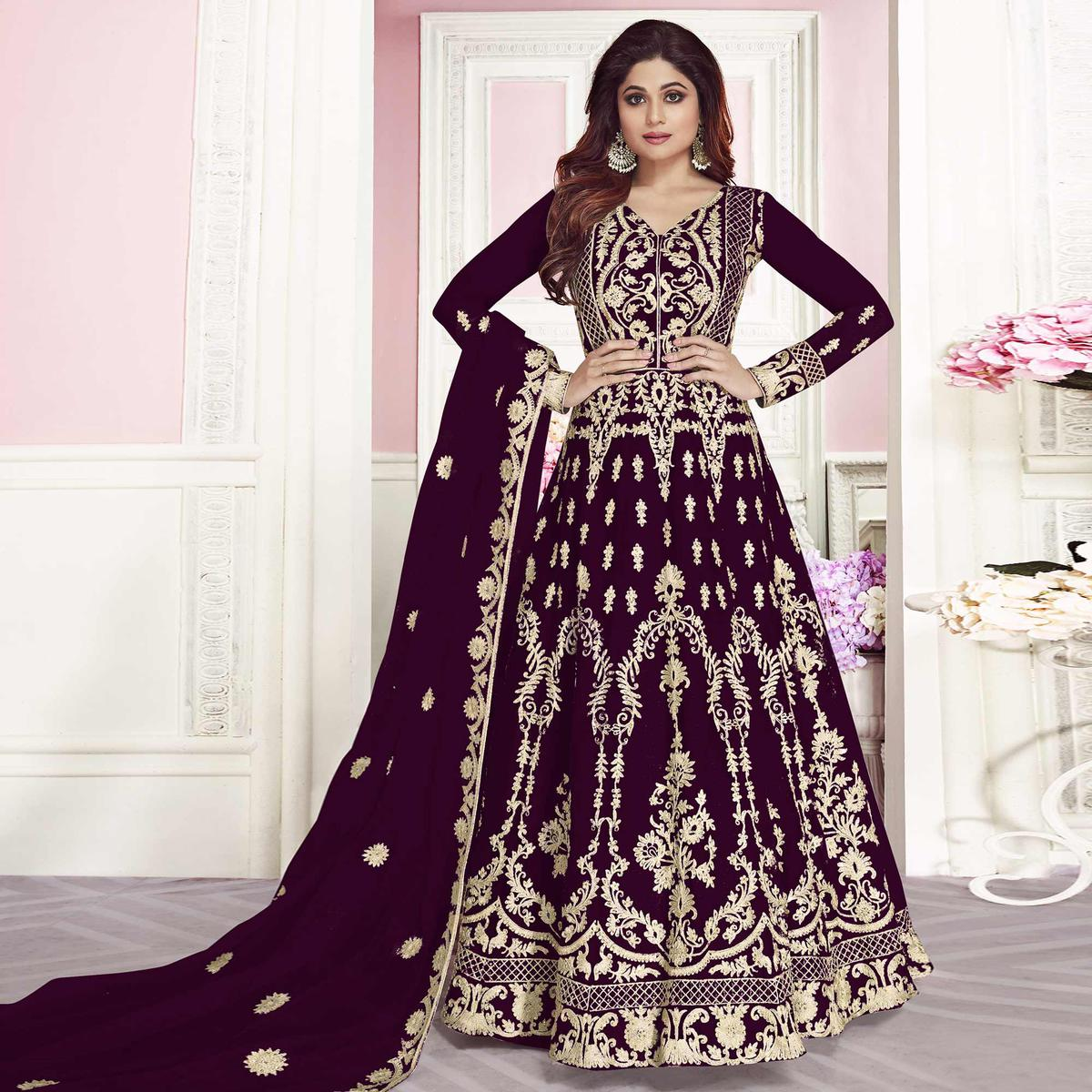 Entrancing Purple Colored Partywear Embroidered Silk Anarkali Suit
