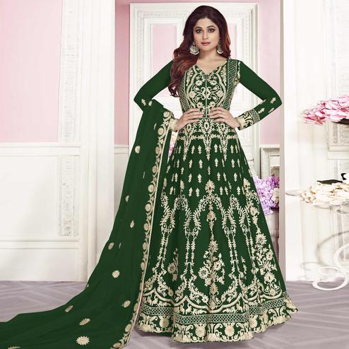 Groovy Green Colored Partywear Embroidered Silk Anarkali Suit