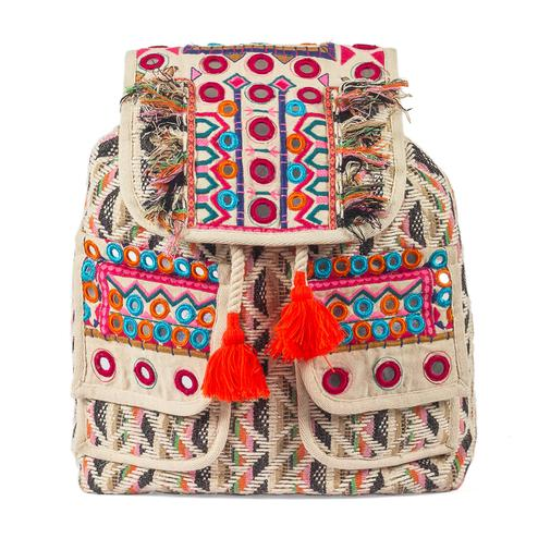 Intricate Beige Colored Casual Kutch Embroidered Jute Bag