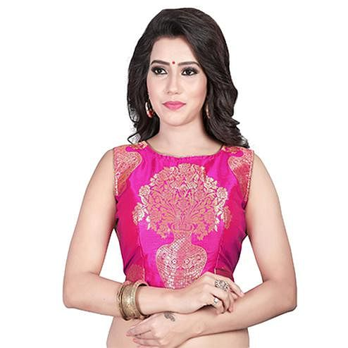 Pink Embroidered Work Jacquard Blouse
