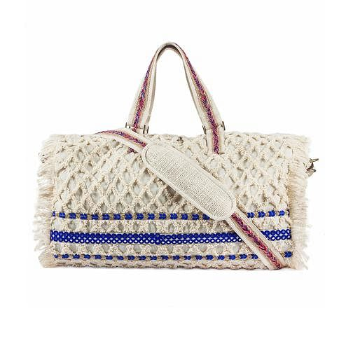 Groovy Cream Colored Cut Work Embroidered Jute Duffle Bag