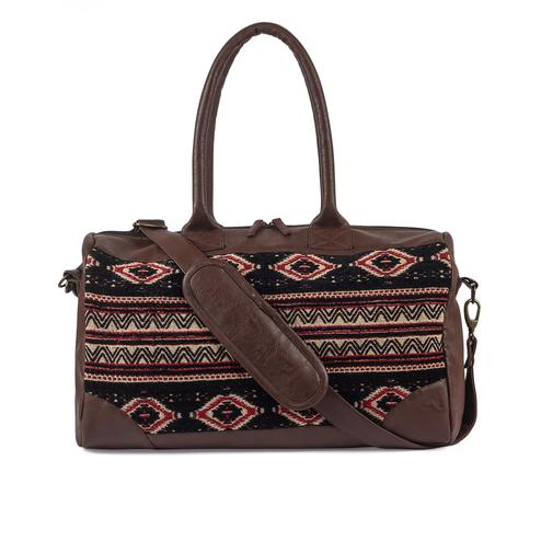 Adorning Brown Colored Embroidered Mat Duffle Bag
