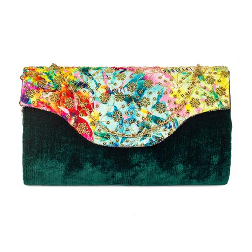 Intricate Green Colored Handcrafted Partywear Sequin Embroidered Velvet Sling Bag