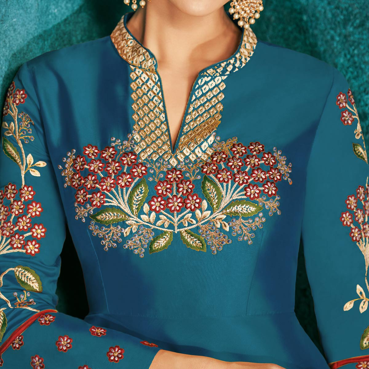 Preferable Teal Blue Colored Party Wear Embroidered Silk Gown