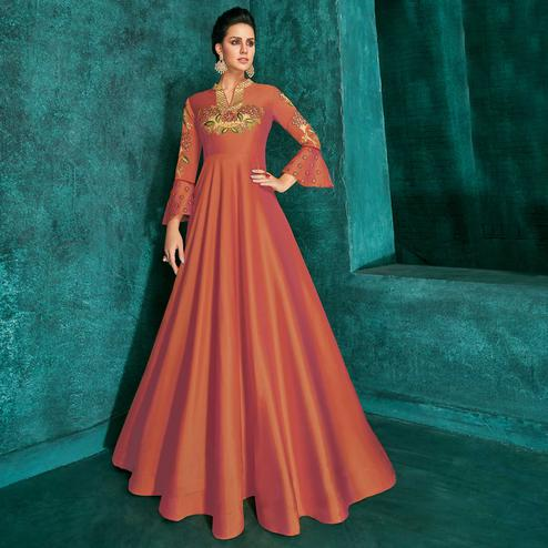 Marvellous Orange Colored Party Wear Embroidered Silk Gown