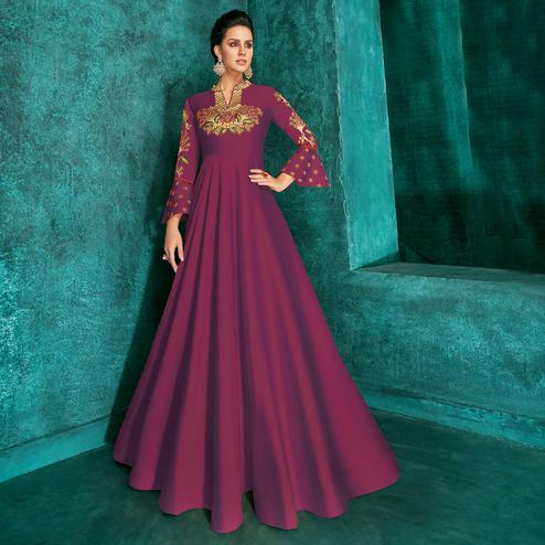 Flamboyant Wine Colored Party Wear Embroidered Silk Gown