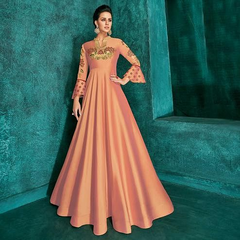 Mesmeric Peach Colored Party Wear Embroidered Silk Gown