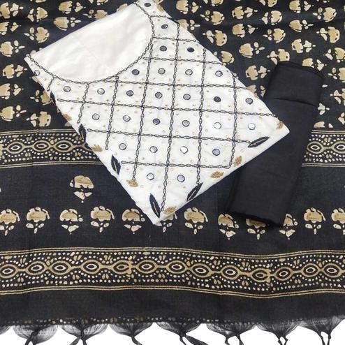 Pretty White-Black Colored Partywear Embroidered Khadi Silk Dress Material