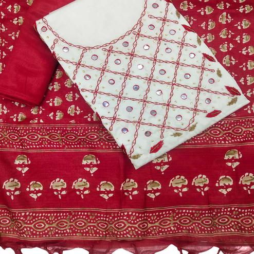 Alluring White-Red Colored Partywear Embroidered Khadi Silk Dress Material
