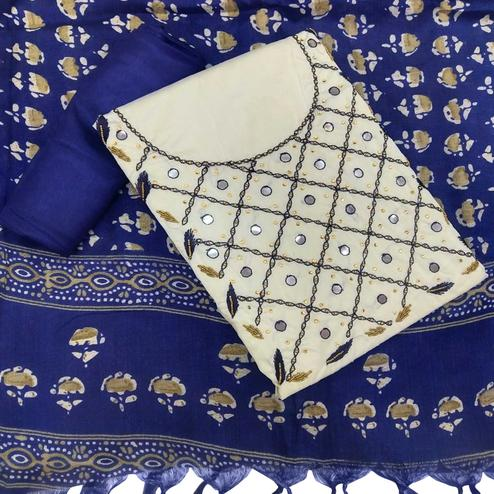 Sensational White-Navy Blue Colored Partywear Embroidered Khadi Silk Dress Material