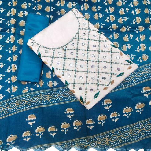 Flaunt White-Blue Colored Partywear Embroidered Chanderi Silk Dress Material