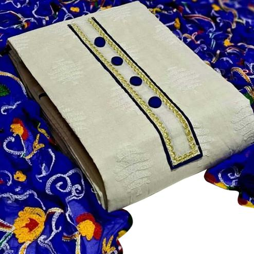 Stunning White-Navy Blue Colored Partywear Embroidered Cotton Dress Material