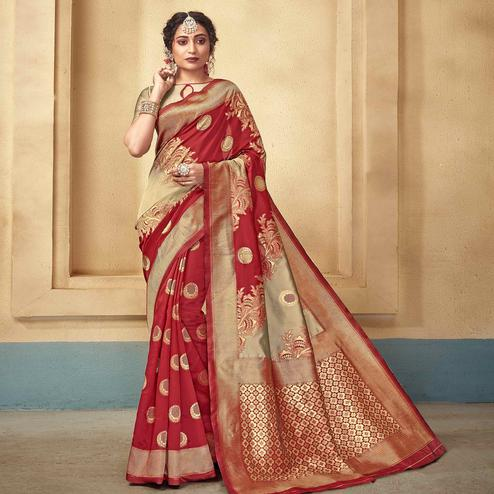 Delightful Red Colored Festive Wear Woven Kota Silk Saree