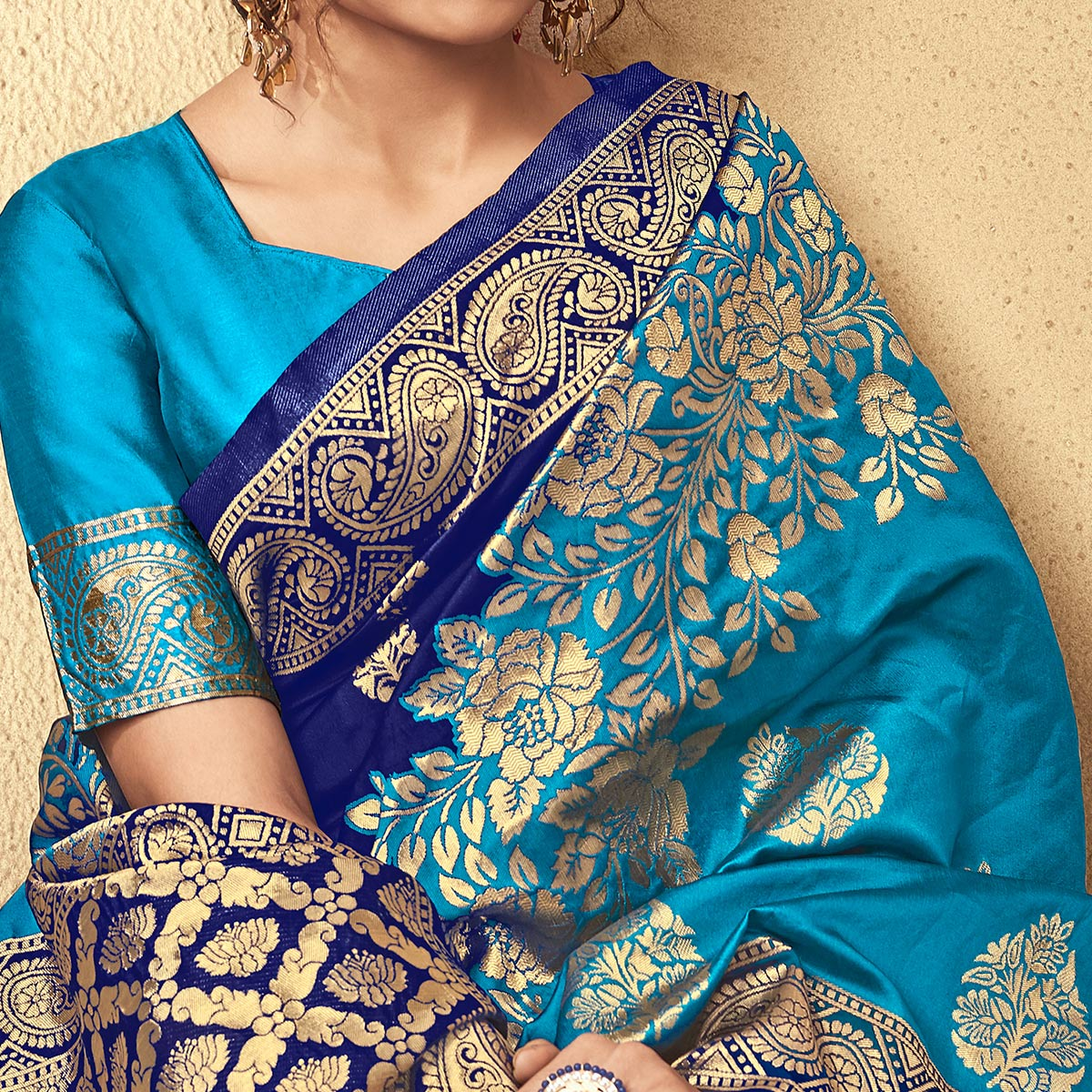 Innovative Blue Colored Festive Wear Woven Kota Silk Saree