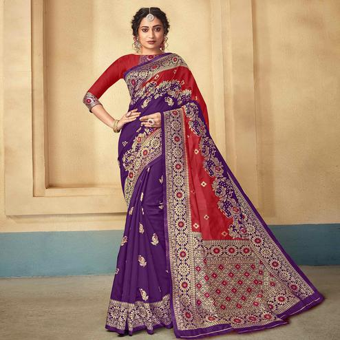 Fantastic Purple Colored Festive Wear Woven Kota Silk Saree