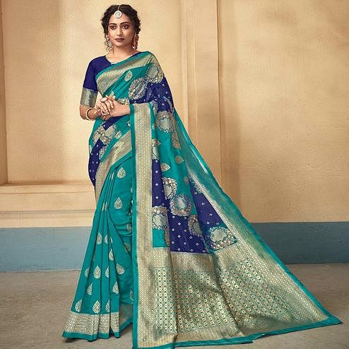 Amazing Turquoise Green Colored Festive Wear Woven Kota Silk Saree