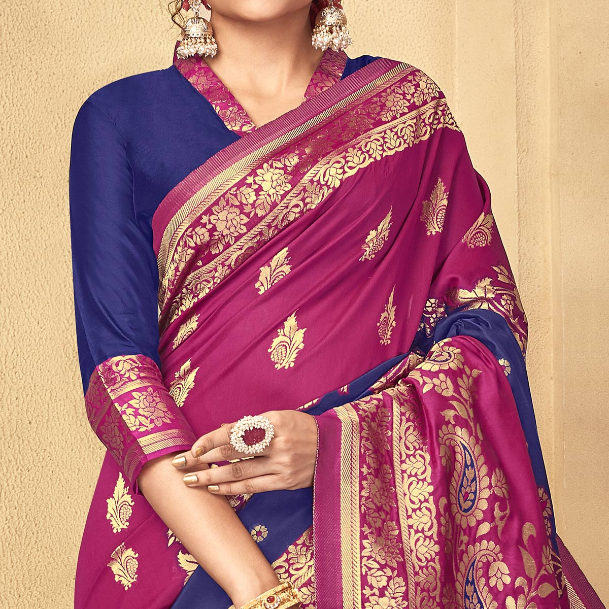 Gorgeous Dark Pink Colored Festive Wear Woven Kota Silk Saree