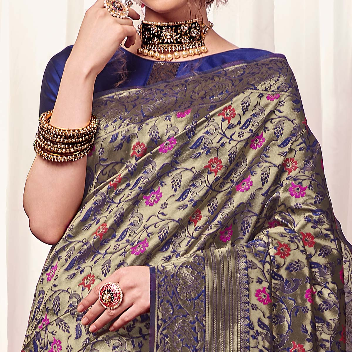 Jazzy Navy Blue Colored Festive Wear Woven Kota Silk Saree