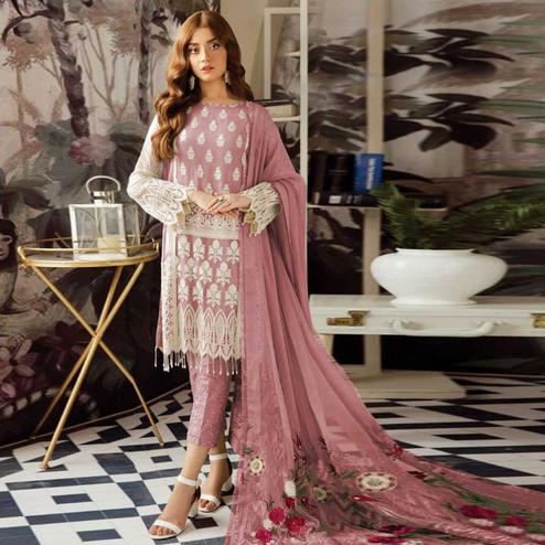 Captivating Mauve Colored Party Wear Embroidered Georgette Suit