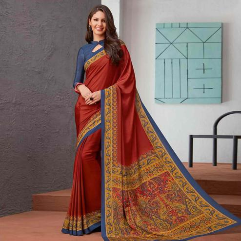 Delightful Red Colored Casual Printed Crepe Saree