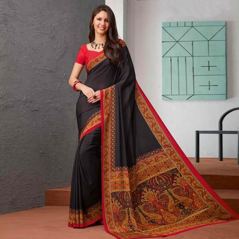 Engrossing Black Colored Casual Printed Crepe Saree