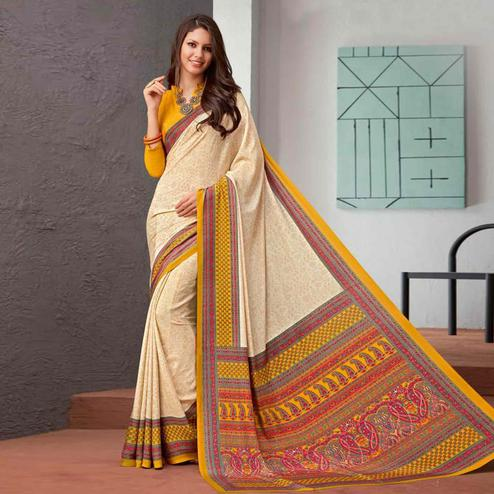 Innovative Beige-Yellow Colored Casual Printed Crepe Saree