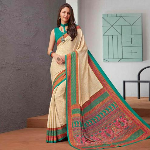 Eye-catching Beige-Green Colored Casual Printed Crepe Saree