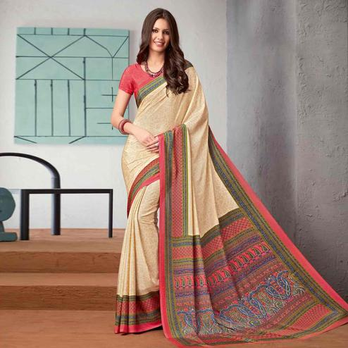 Fantastic Beige-Pink Colored Casual Printed Crepe Saree