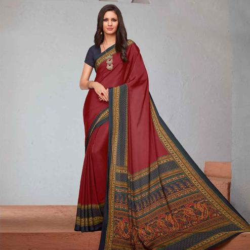 Amazing Maroon Colored Casual Printed Crepe Saree