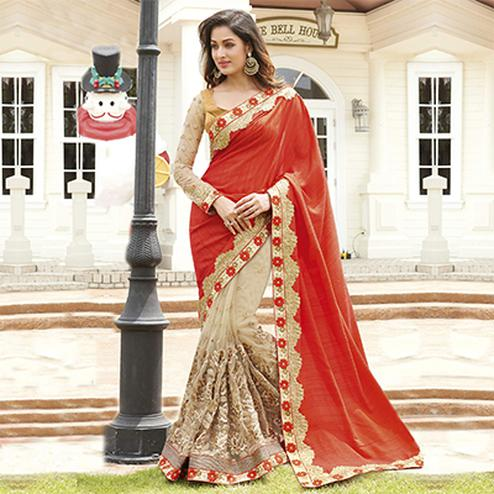 Red - Beige Party Wear Half & Half Saree