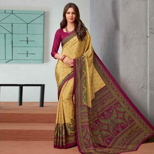 Refreshing Yellow-Pink Colored Casual Printed Crepe Saree