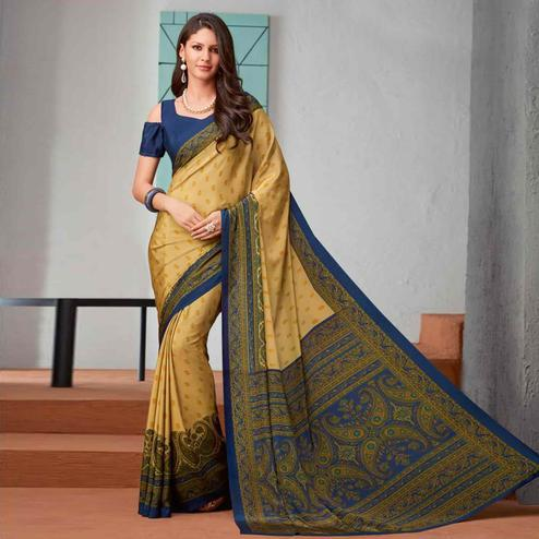 Hypnotic Yellow-Blue Colored Casual Printed Crepe Saree