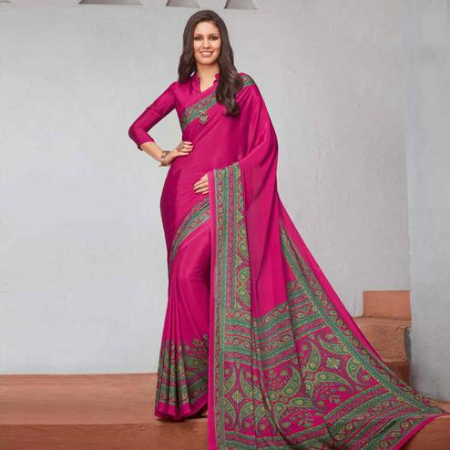 Excellent Dark Pink Colored Casual Printed Crepe Saree