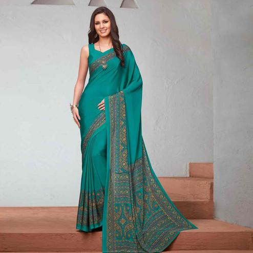 Marvellous Aqua Blue Colored Casual Printed Crepe Saree
