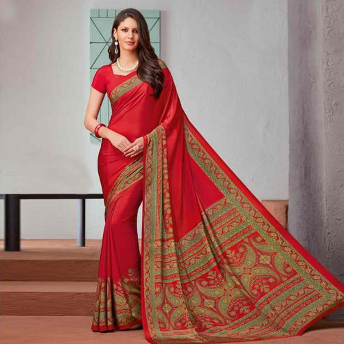 Pretty Red Colored Casual Printed Crepe Saree