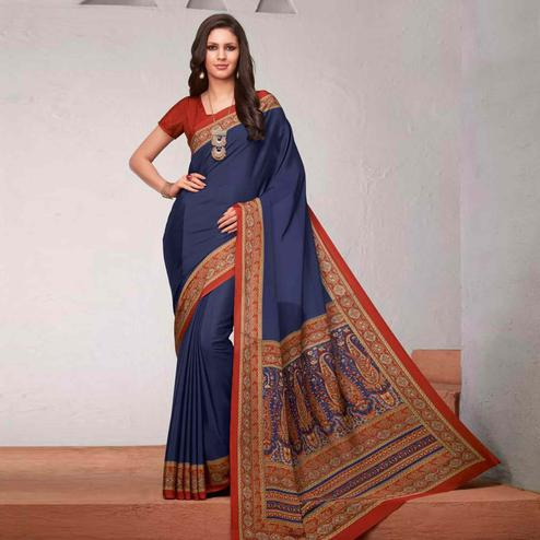 Stunning Navy Blue Colored Casual Printed Crepe Saree