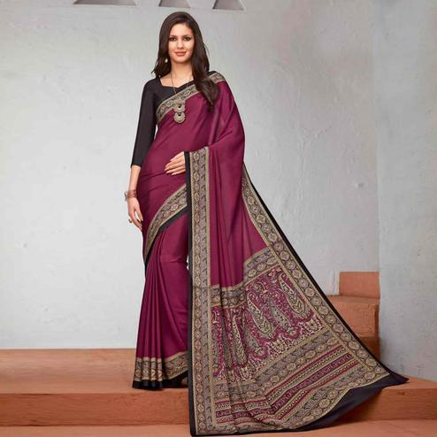 Flirty Purple Colored Casual Printed Crepe Saree